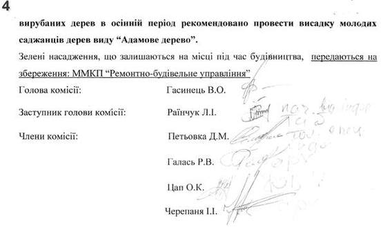 Акт обстеження зелених насаджень Мукачево